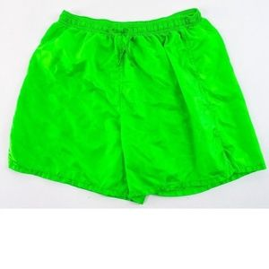 Lime Green Nylon Soccer Shorts Drawstring Athletic